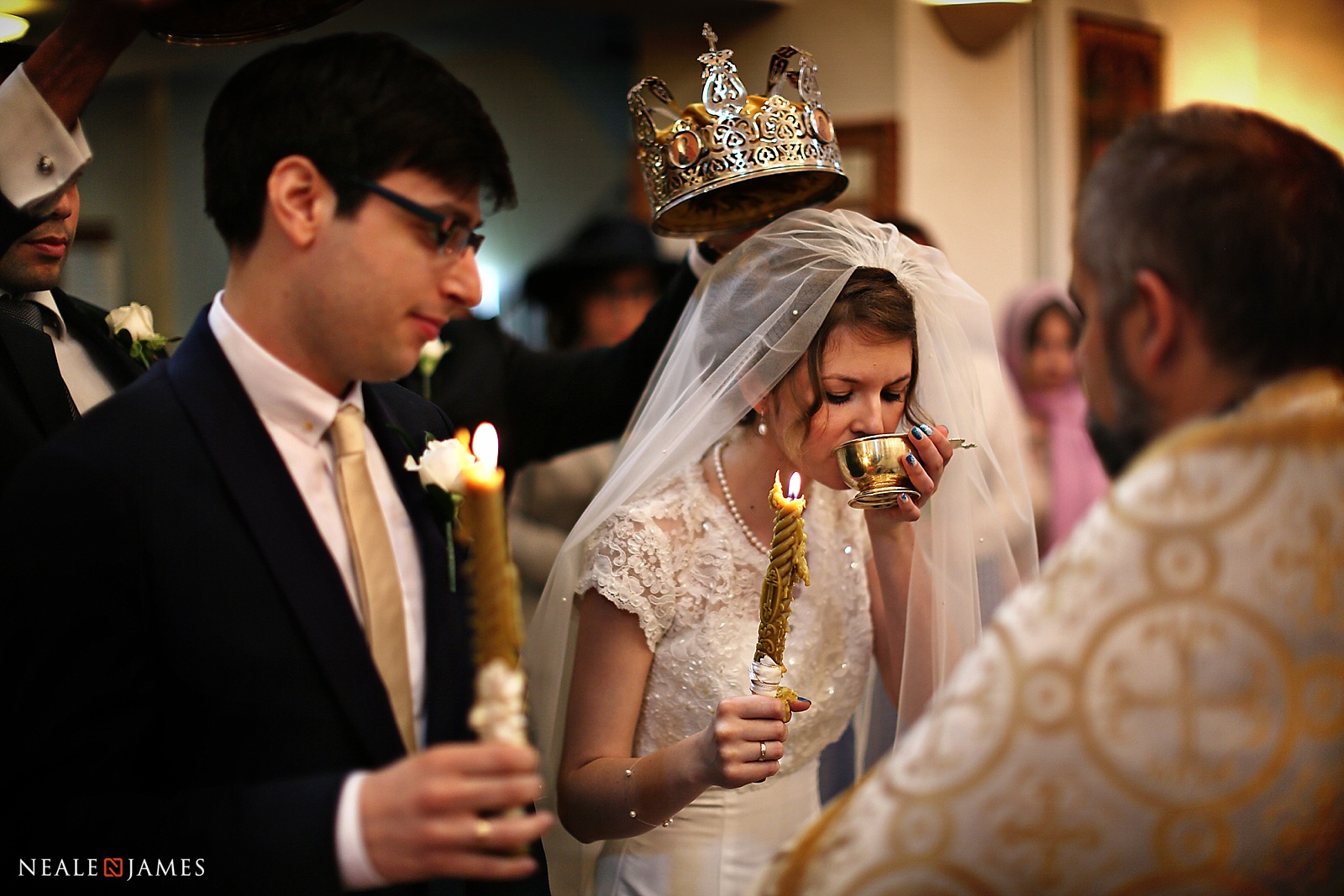 A wedding picture from the Russian Orthodox church in London
