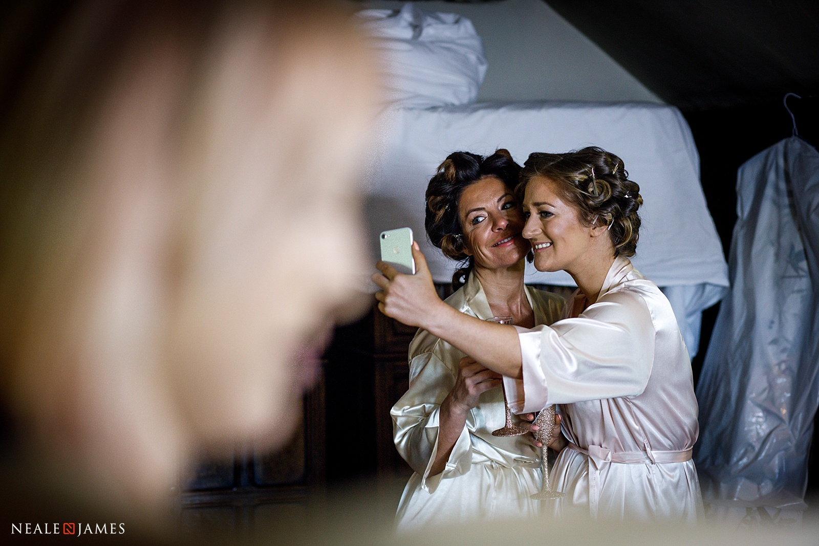 A colour photo of a wedding selfie