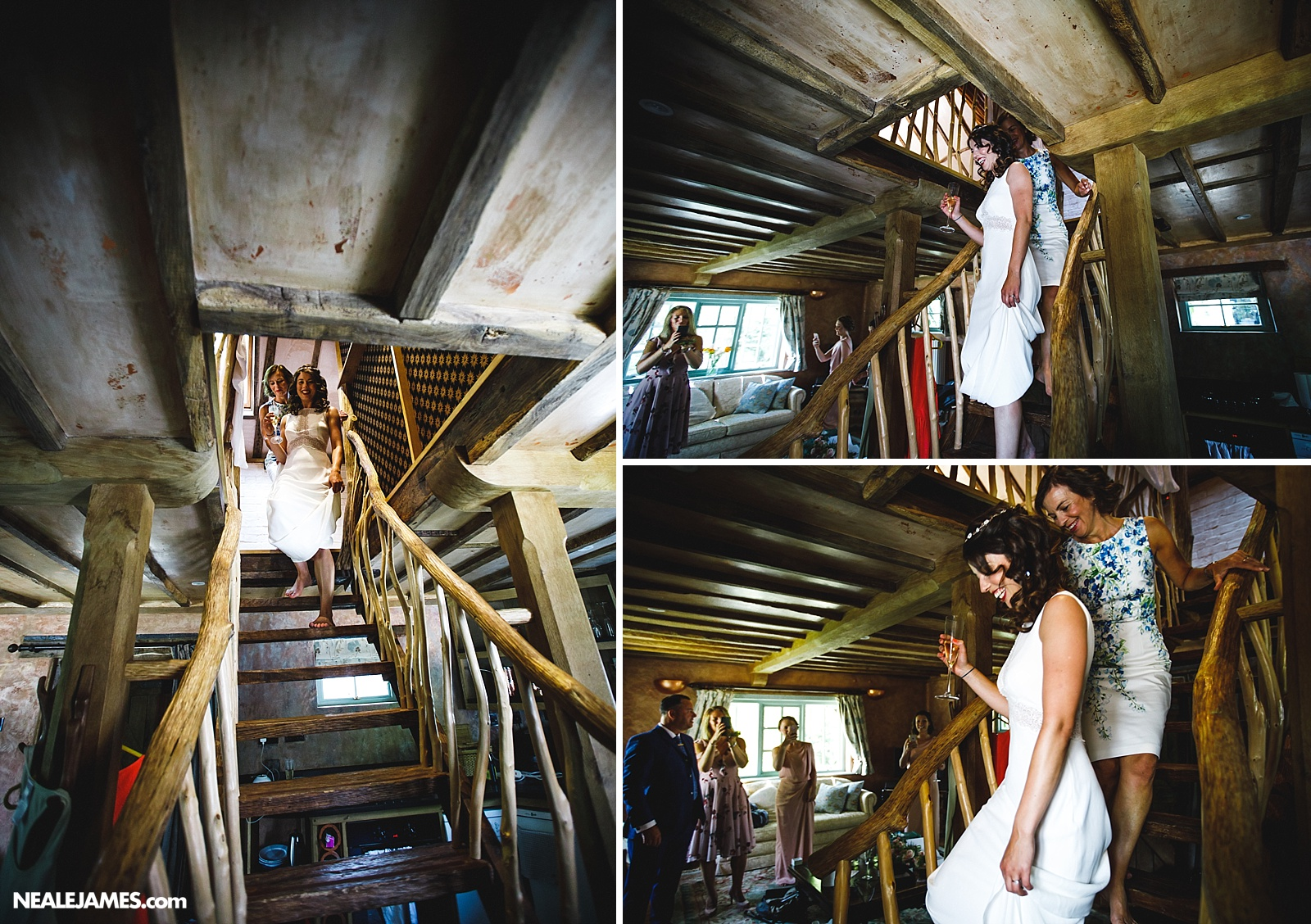 Colour picture of bride coming down the stairs at Ridge Farm wedding venue near Gatwick