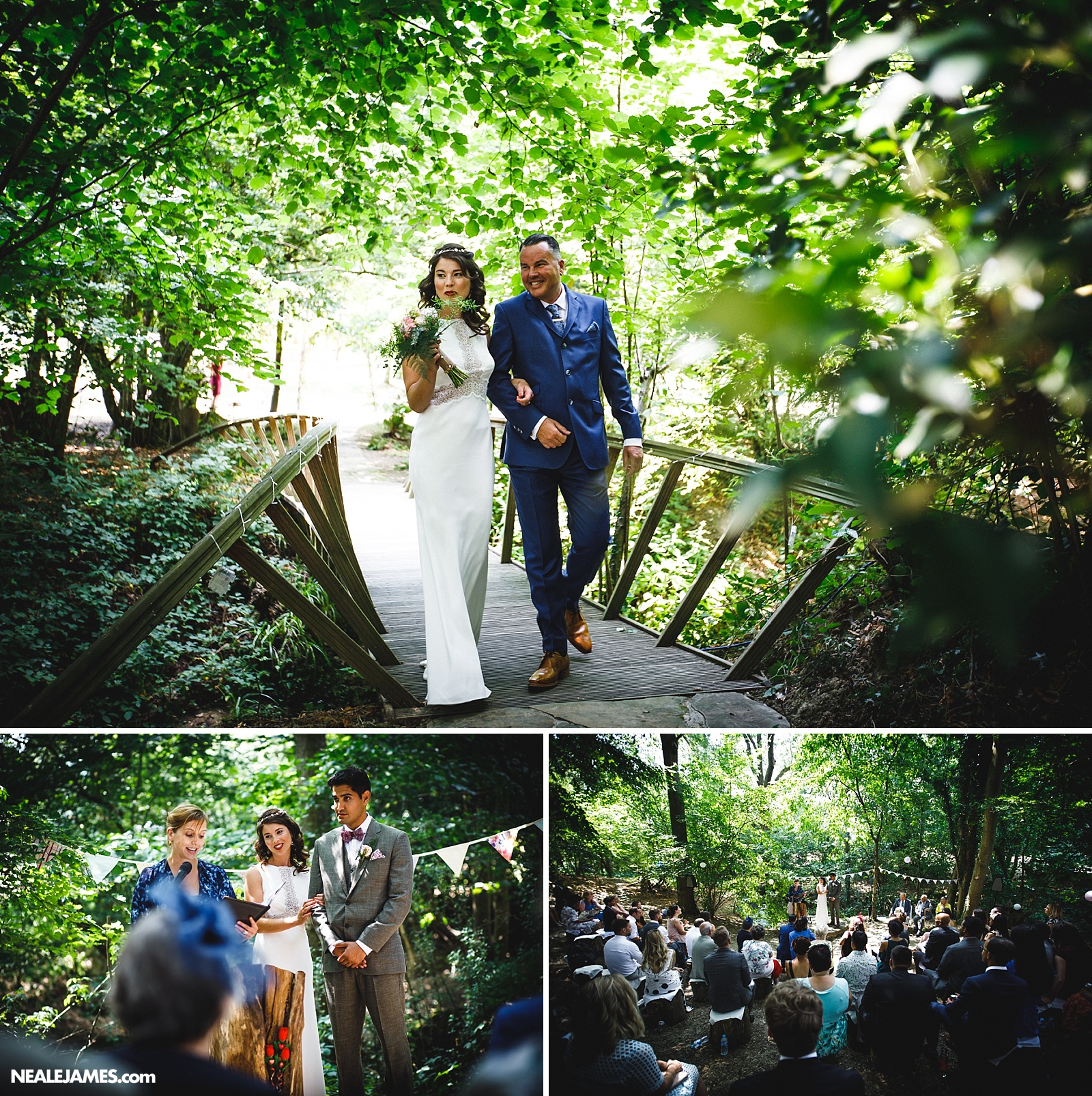A father turning up with his daughter for a woodland wedding in this picture