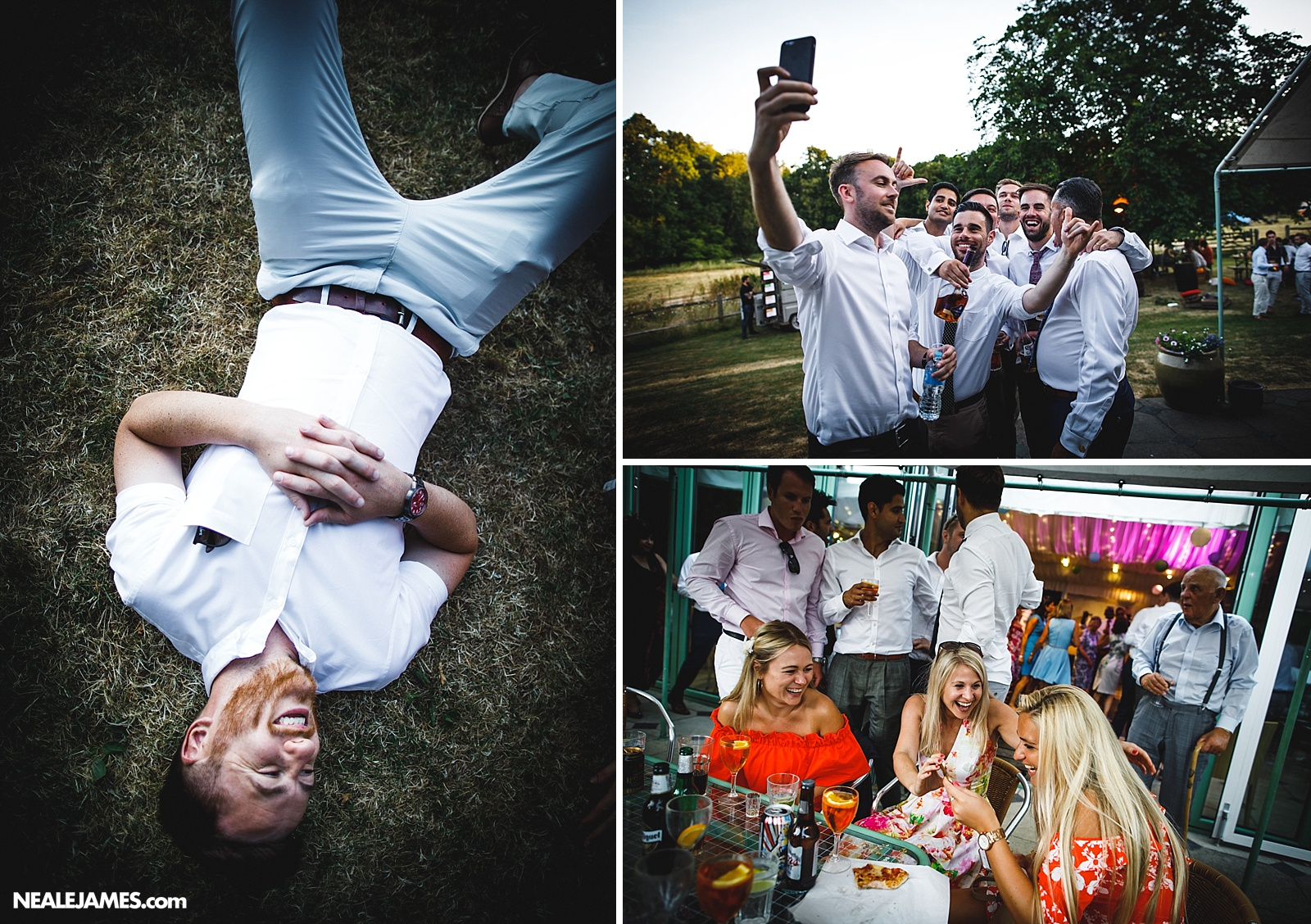 A colour photo of wedding guests at Ridge Farm in the evening partying