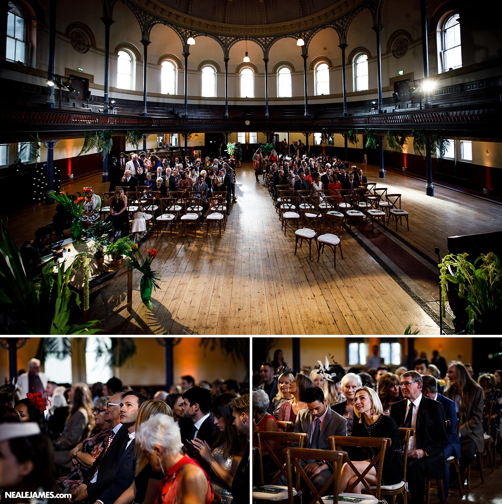 Colour photograph of Round Chapel in London as guests take their seats for a wedding