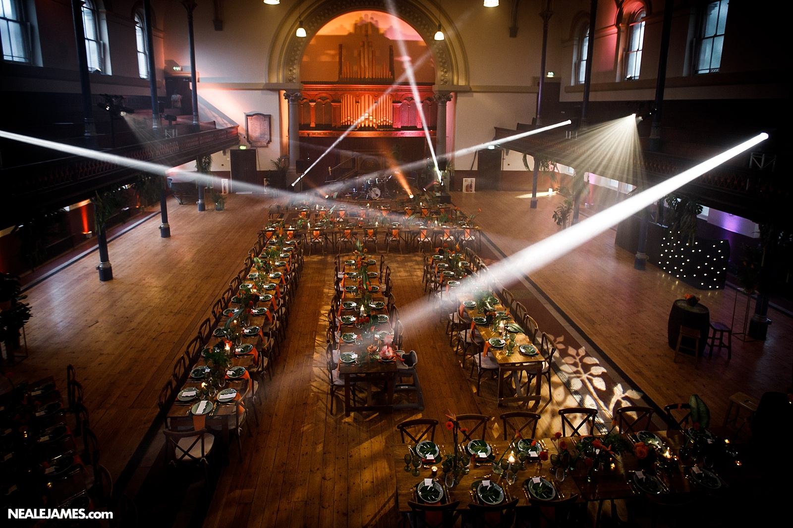 Large reveal picture of the Round Chapel laid for a wedding in London
