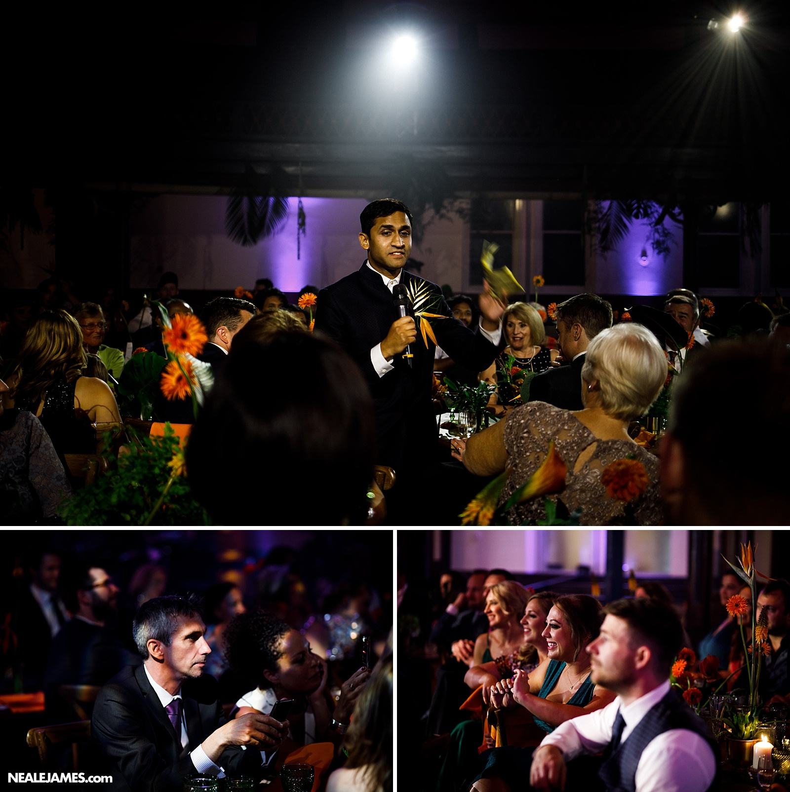 Colour picture of Surendra making his speech to Paul at their wedding