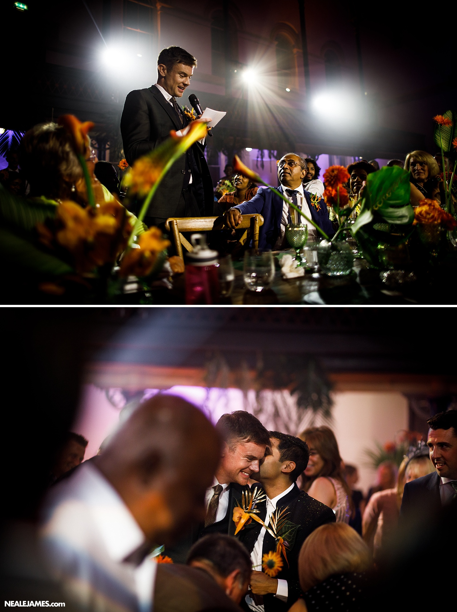 Colour photo of wedding speeches of a civil wedding ceremony in London