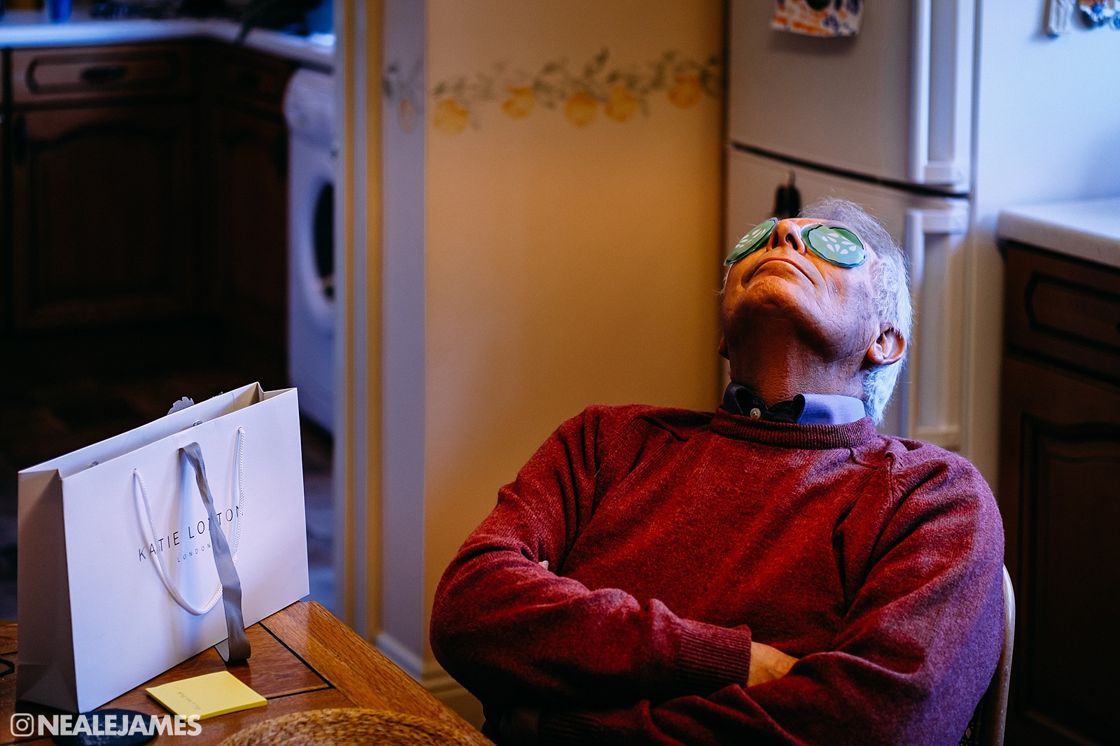 A father relaxing with eye mask before his daughter's wedding