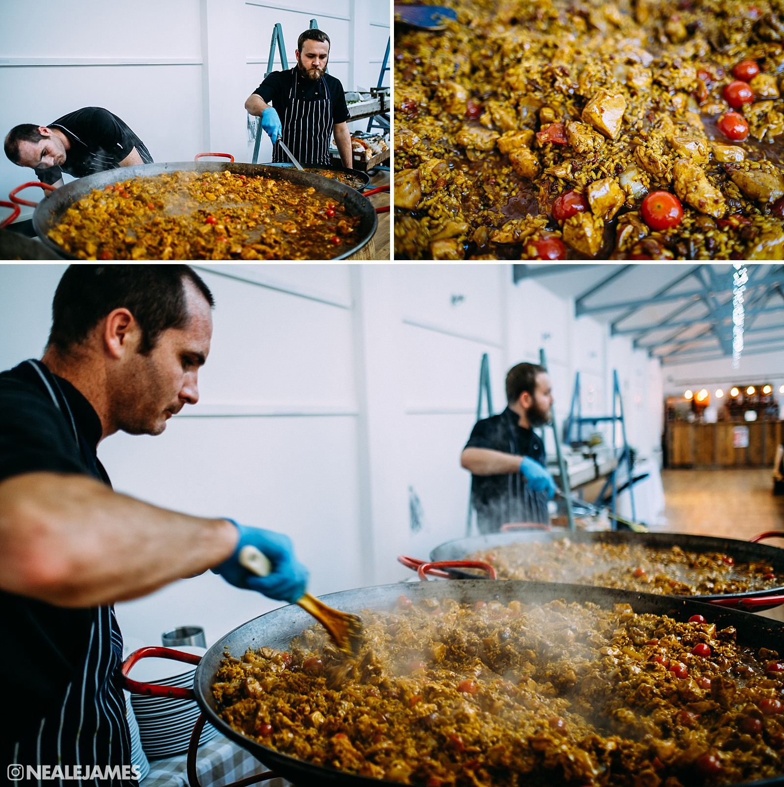 Colour picture of paella being served as the wedding breakfast