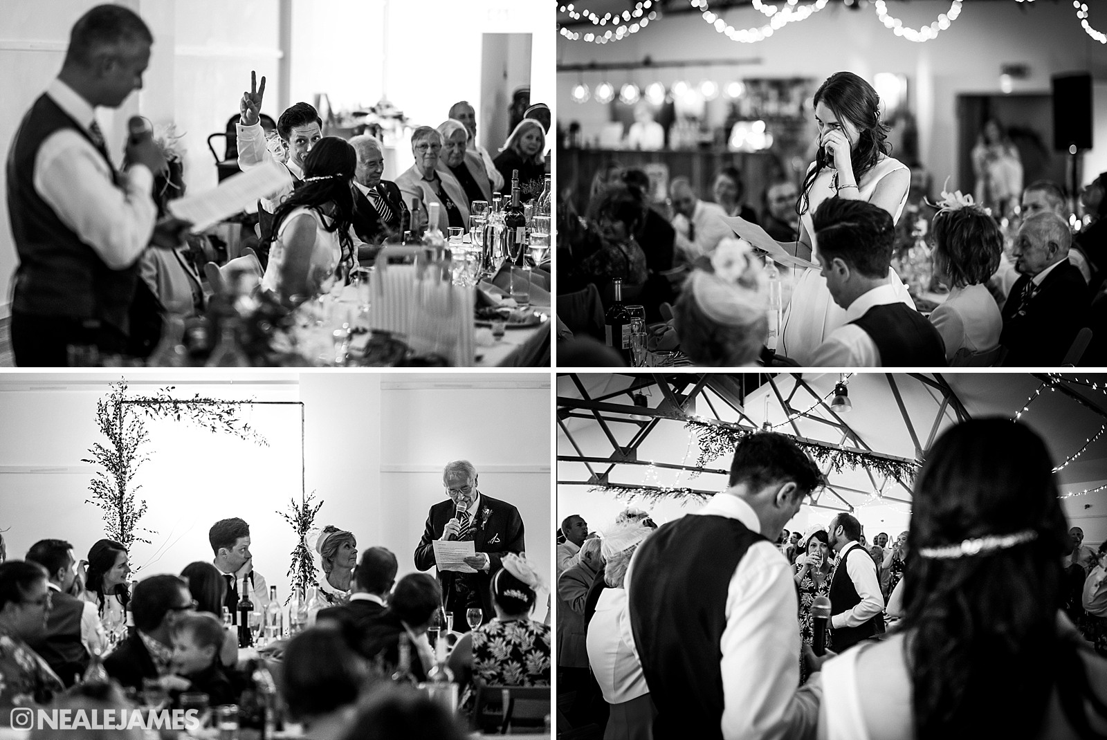 Black and white picture of wedding speeches at the Jervis Gallery