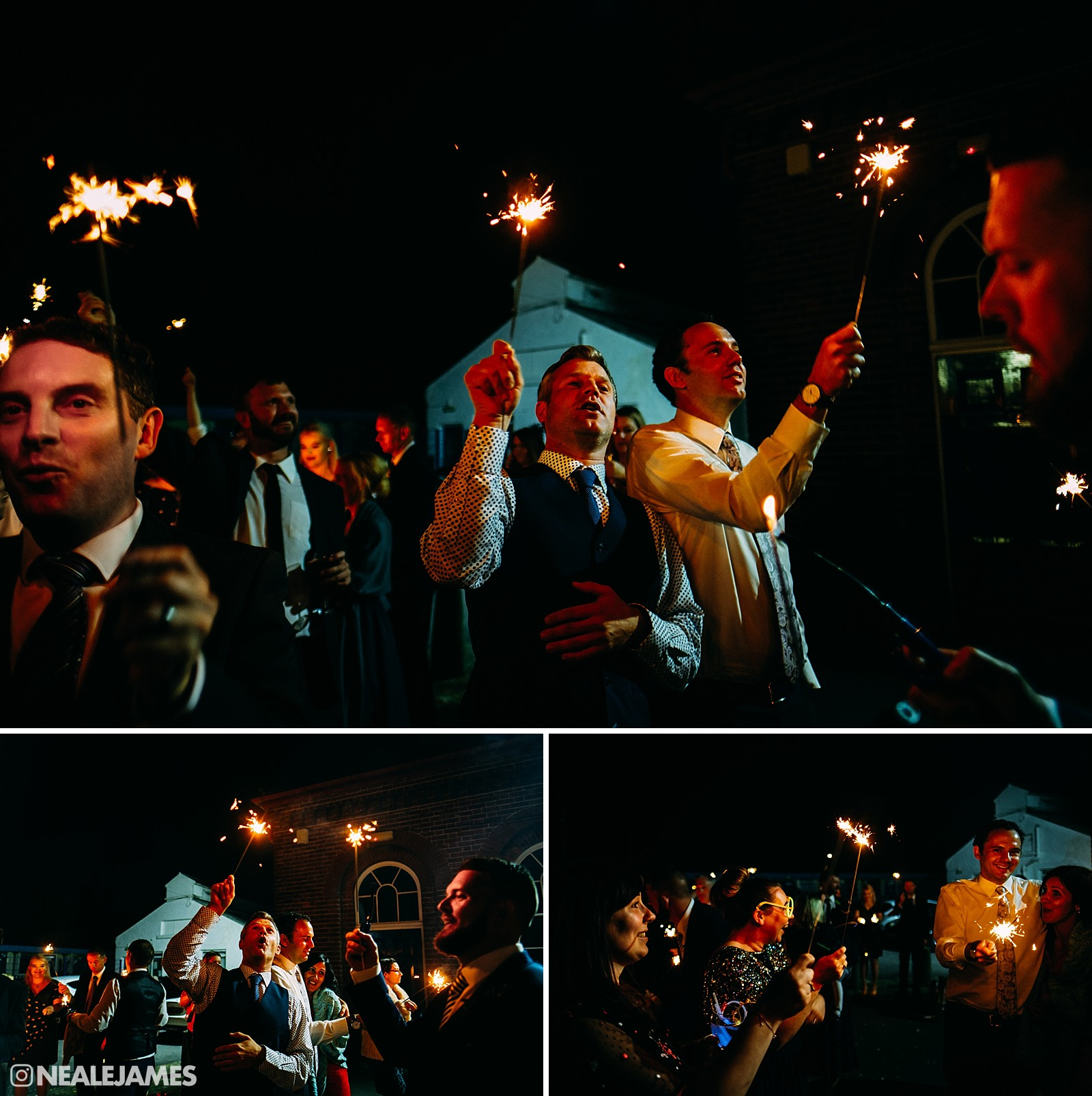 Picture of wedding guests with sparklers