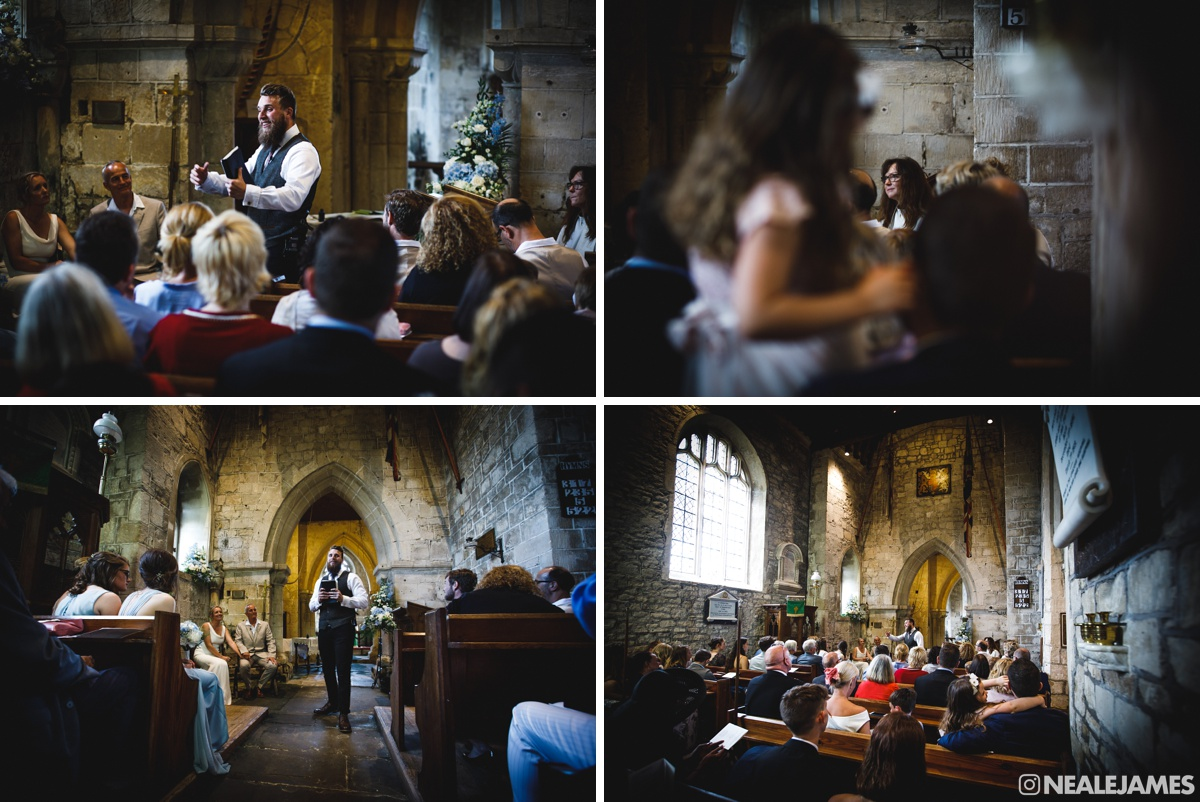 Colour picture of a preacher in Englishcombe Church delivering sermon to a wedding