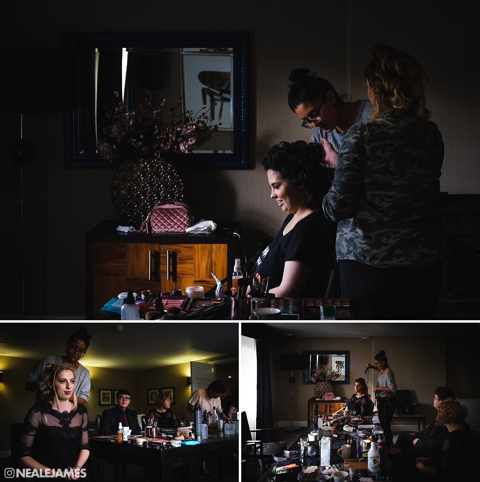 Colour photo of bridal preparations at the Beaumont Estate