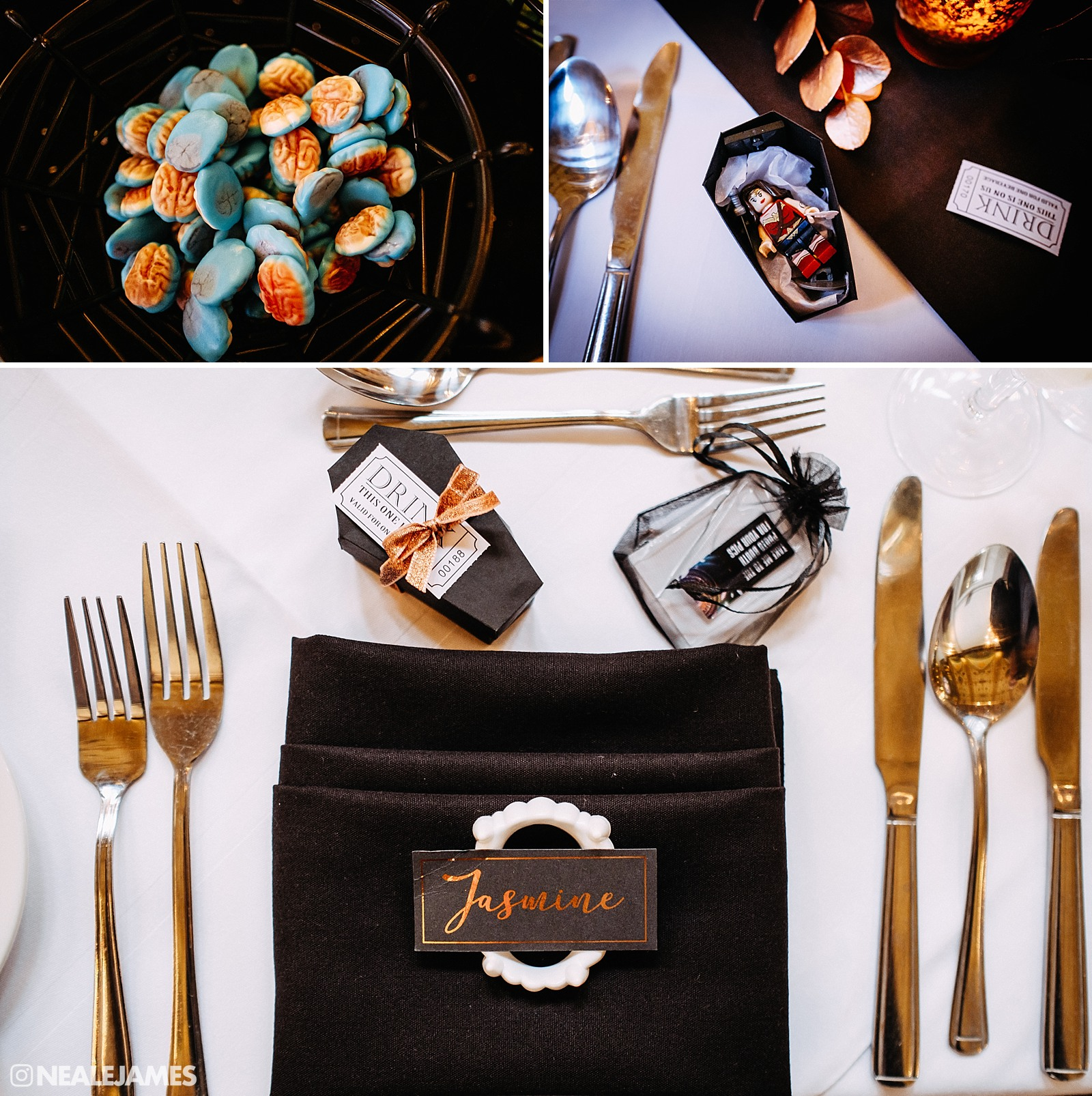 Colour picture of alternative wedding favours at a Halloween wedding