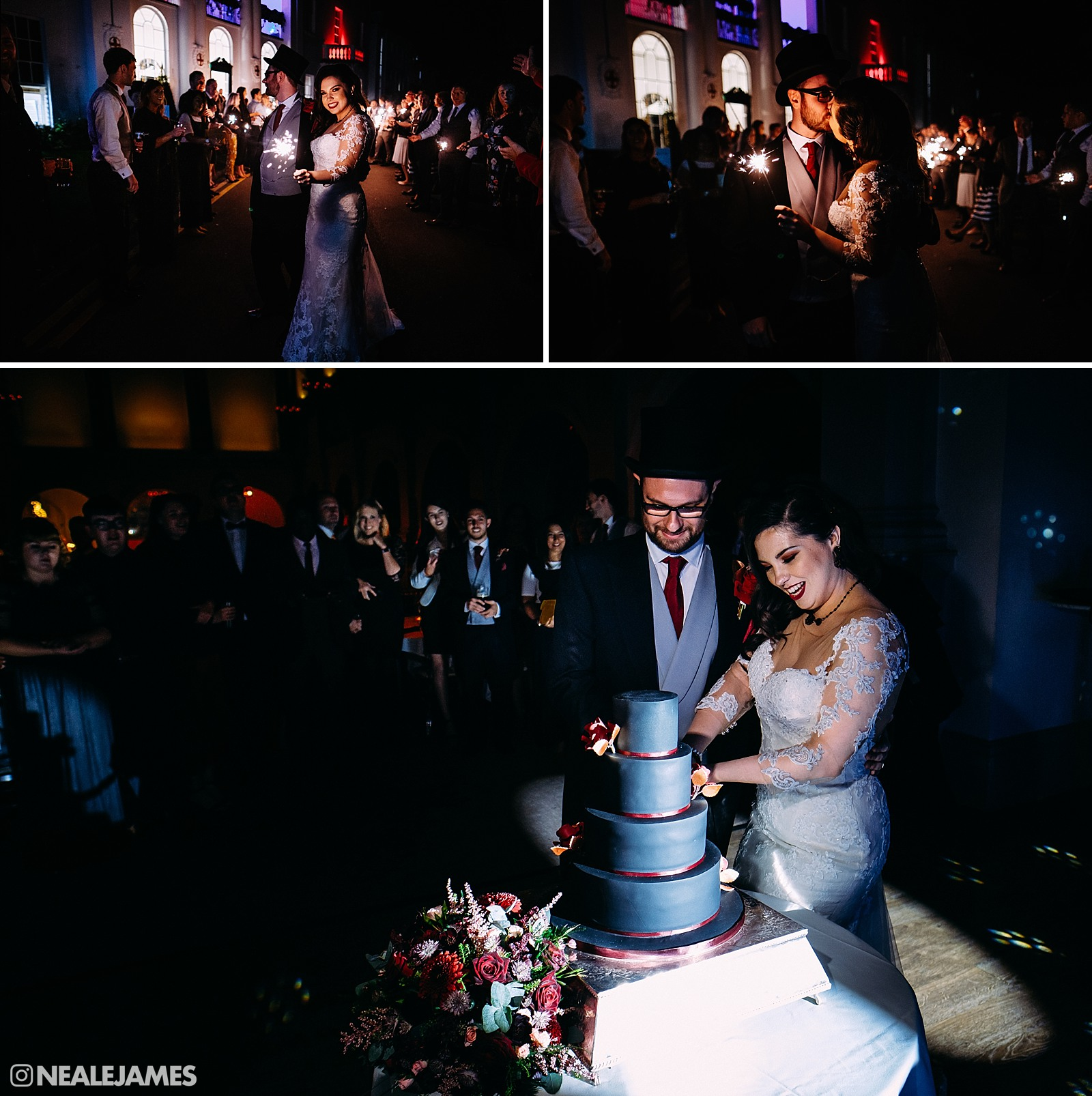 A colour pic of the bride and groom, Tom and Jasmine cutting their wedding cake