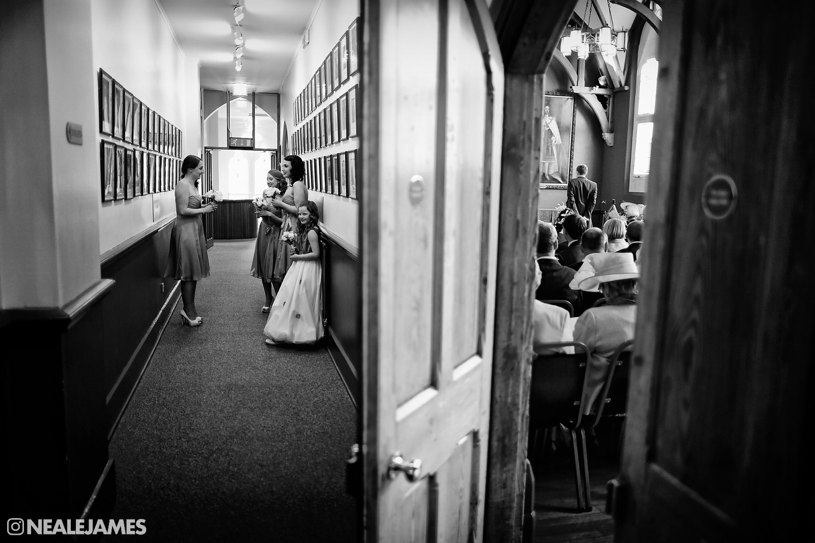 A black and white split composition photograph of bride and bridesmaids waiting for a ceremony to start