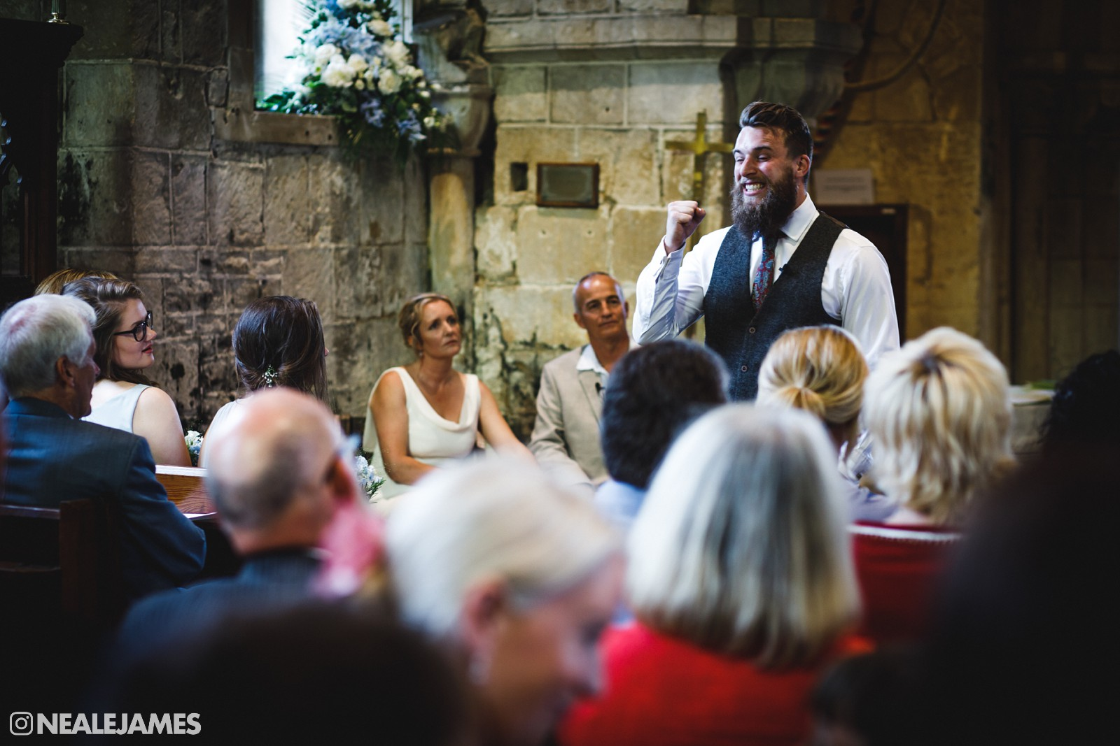 Colour photo of a preacher at a wedding in Bath