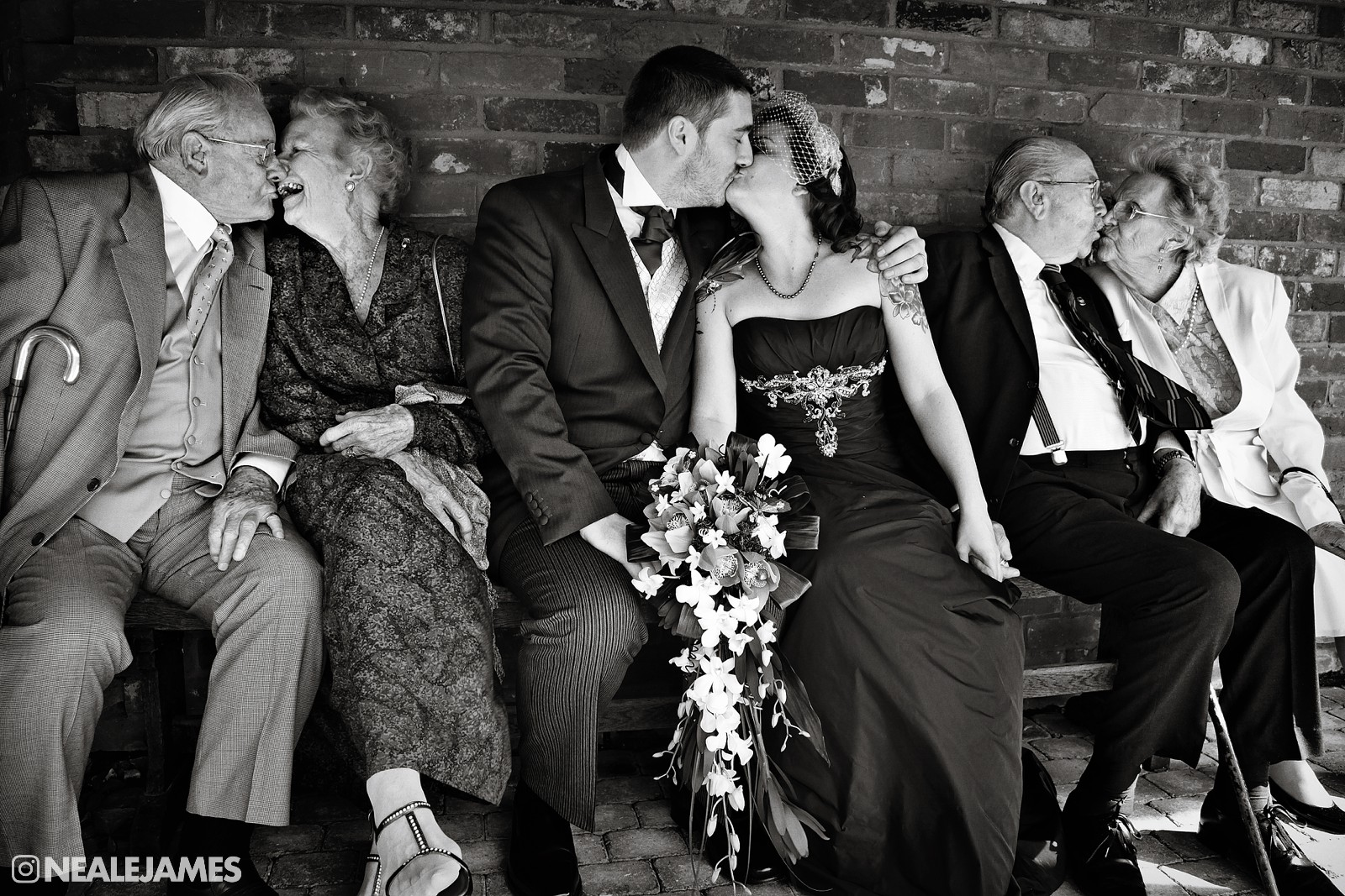 A picture of an alternative style of family shot at a wedding