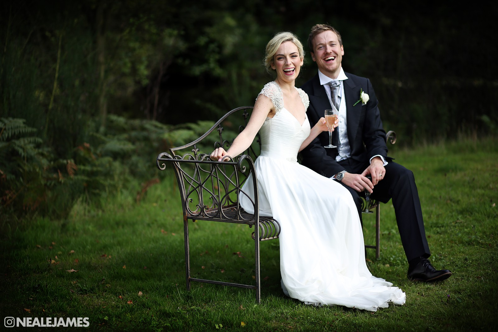 A portrait of a couple on their wedding day at Stoke Place