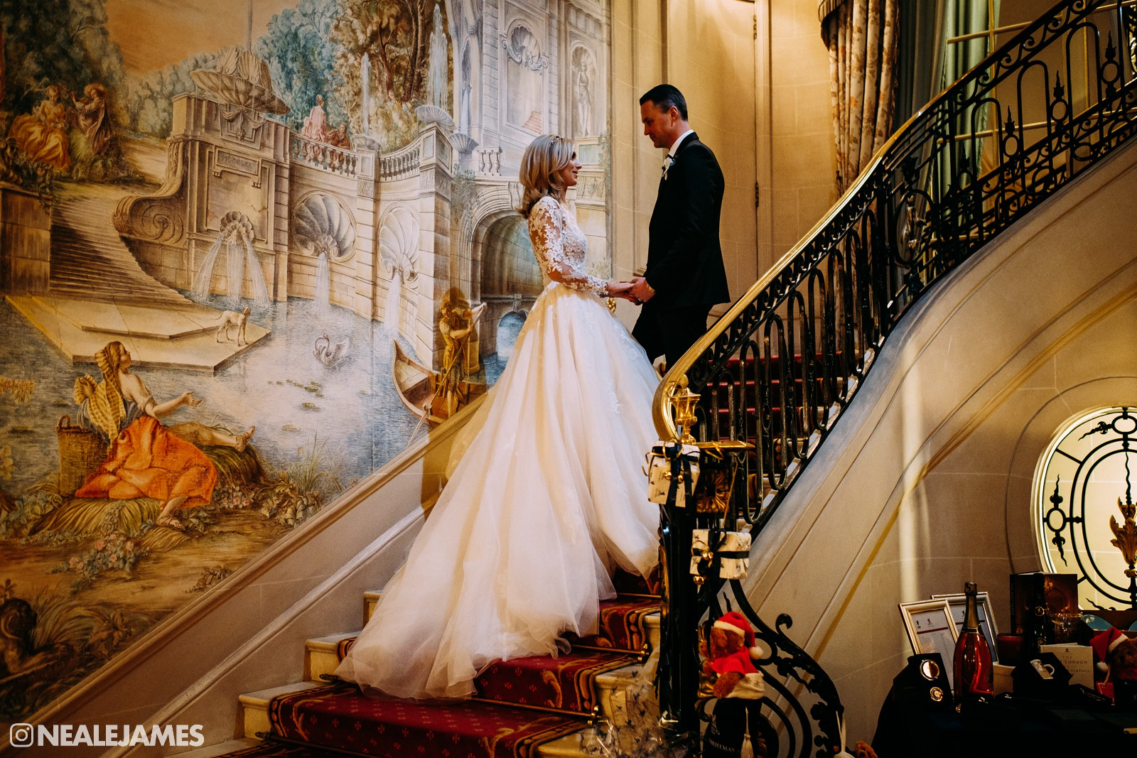 Colour picture of a couple getting married at The Ritz London