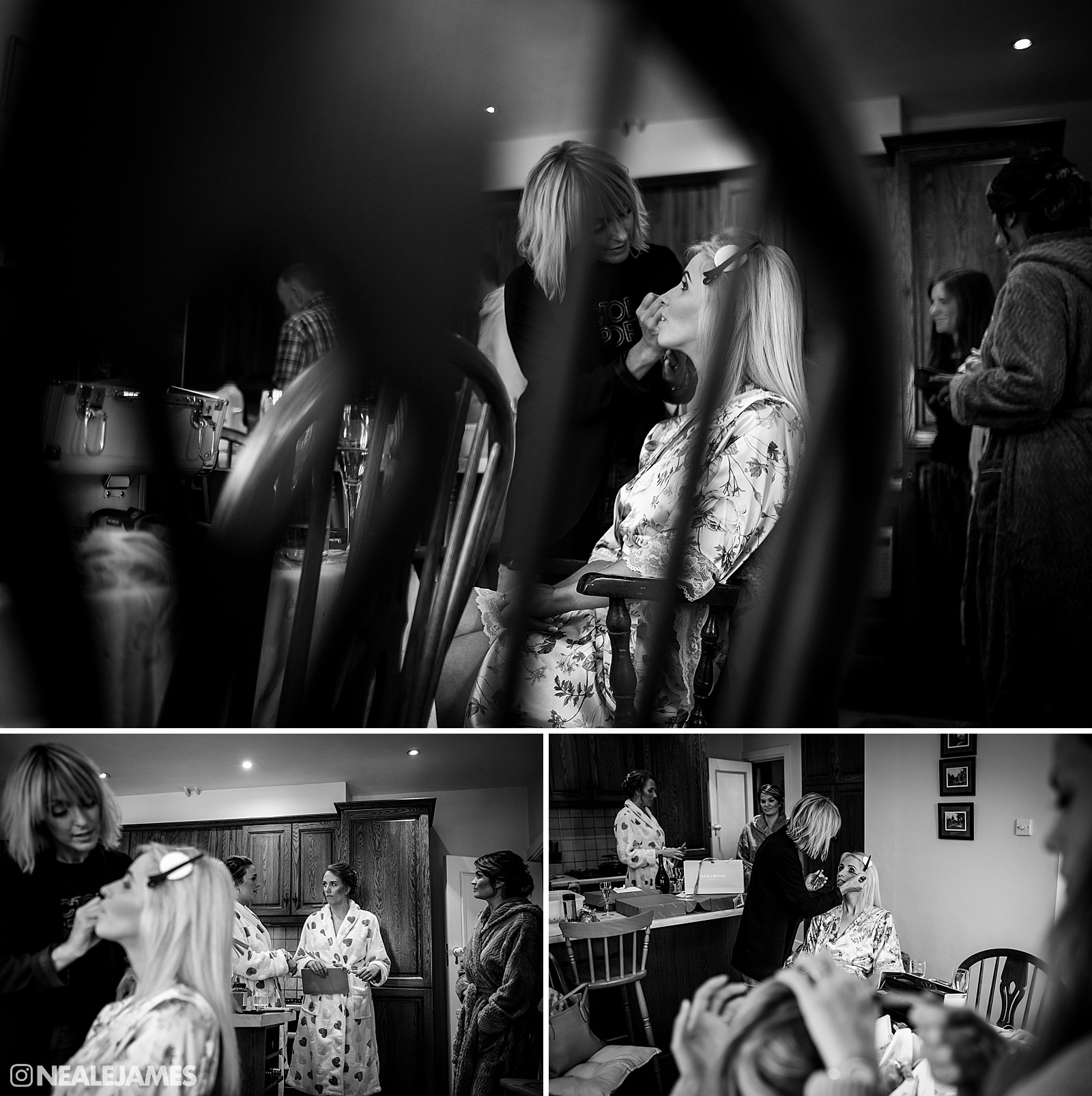 A picture of makeup being applied at a wedding in Surrey