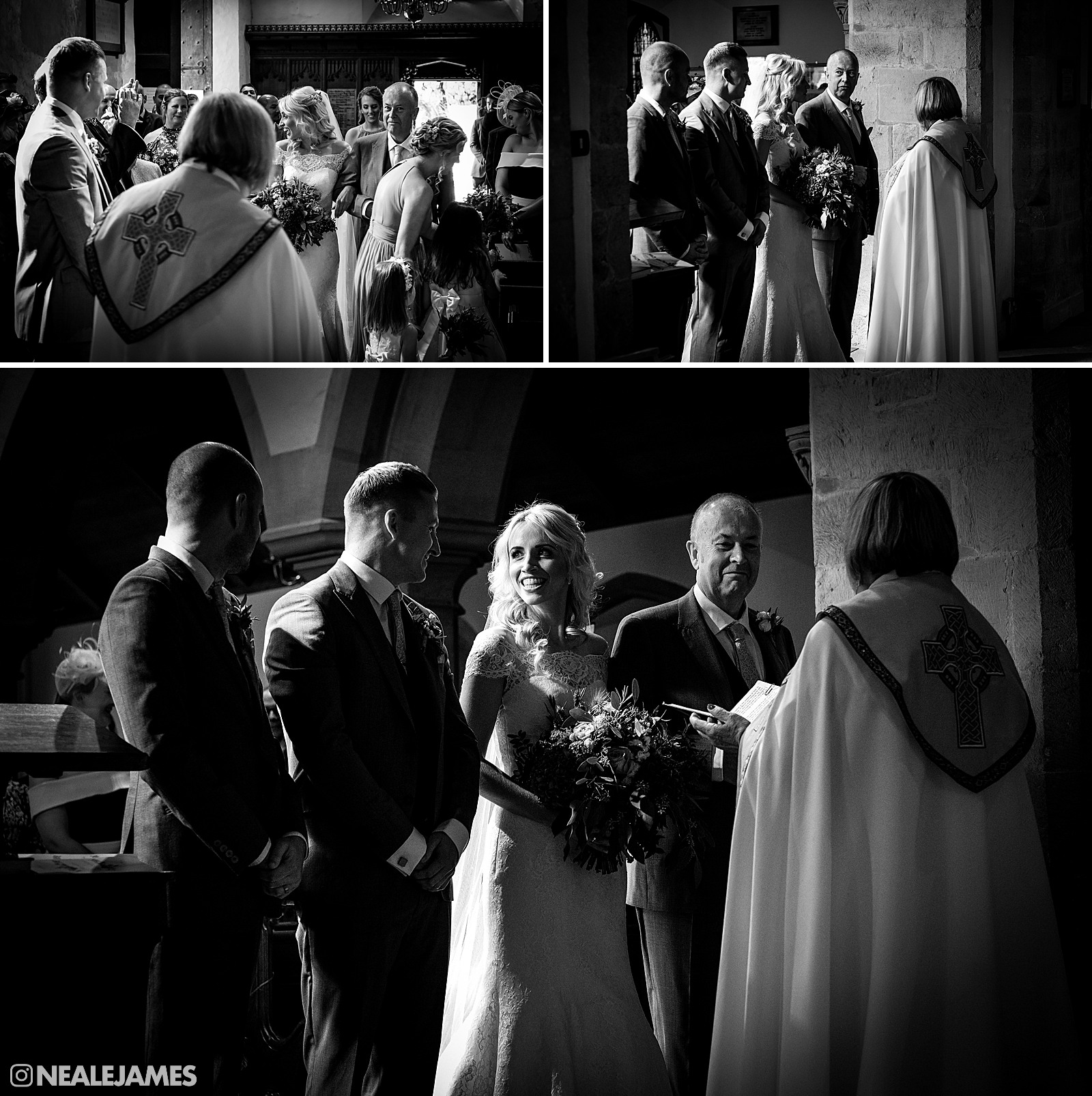 A black and white contrasty image of a bride and groom exchanging vows in an English church
