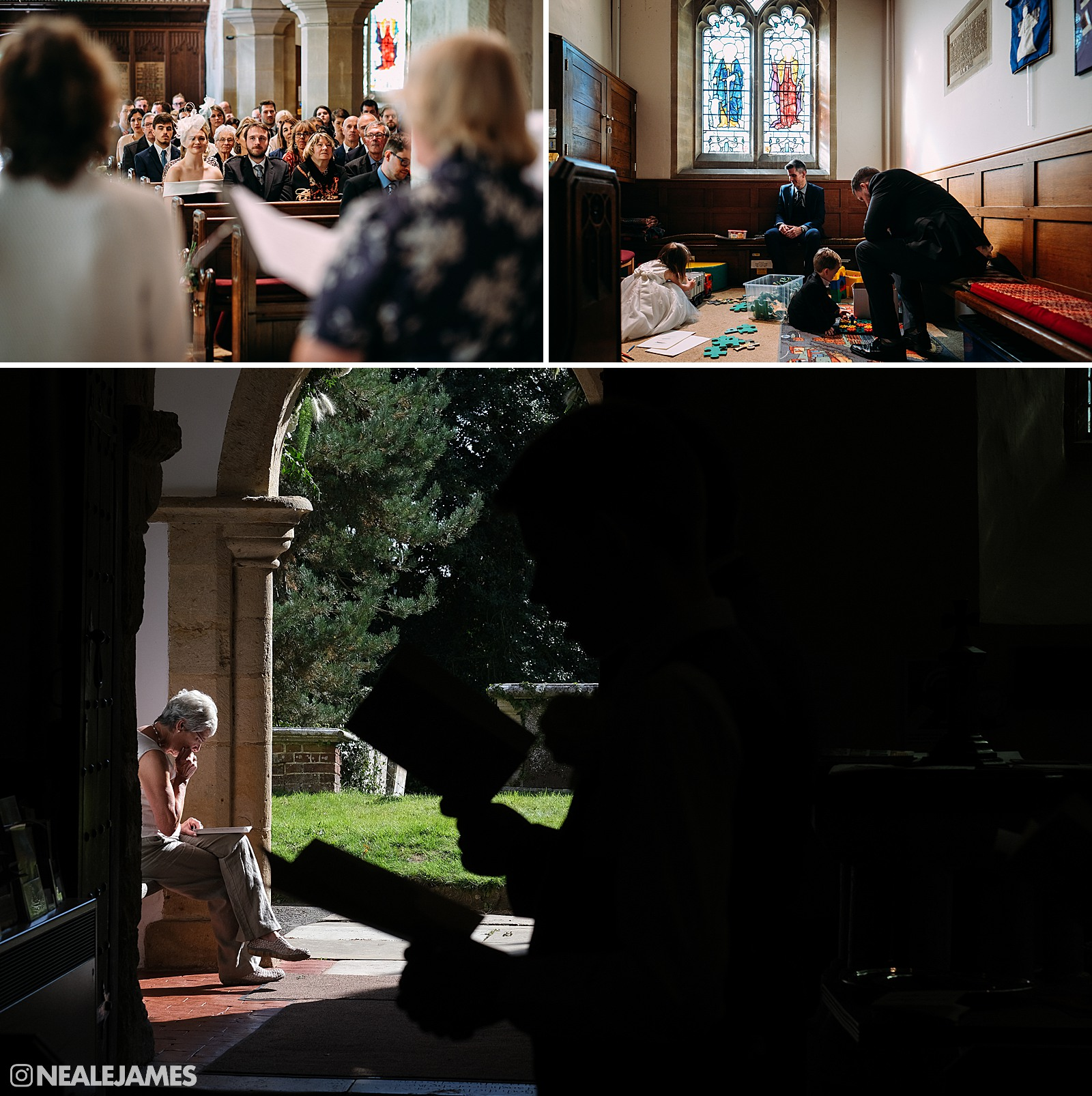 Typical church scenes at an English countryside wedding