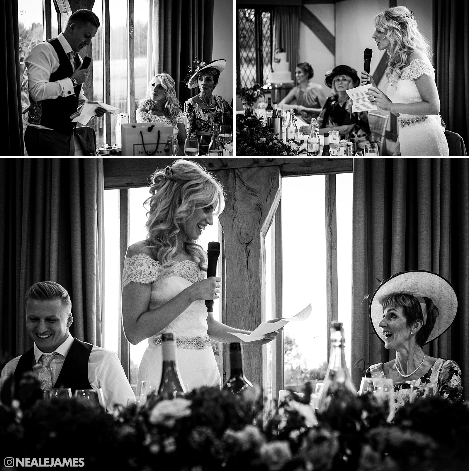 In a black and white photo, a bride making a speech at her wedding