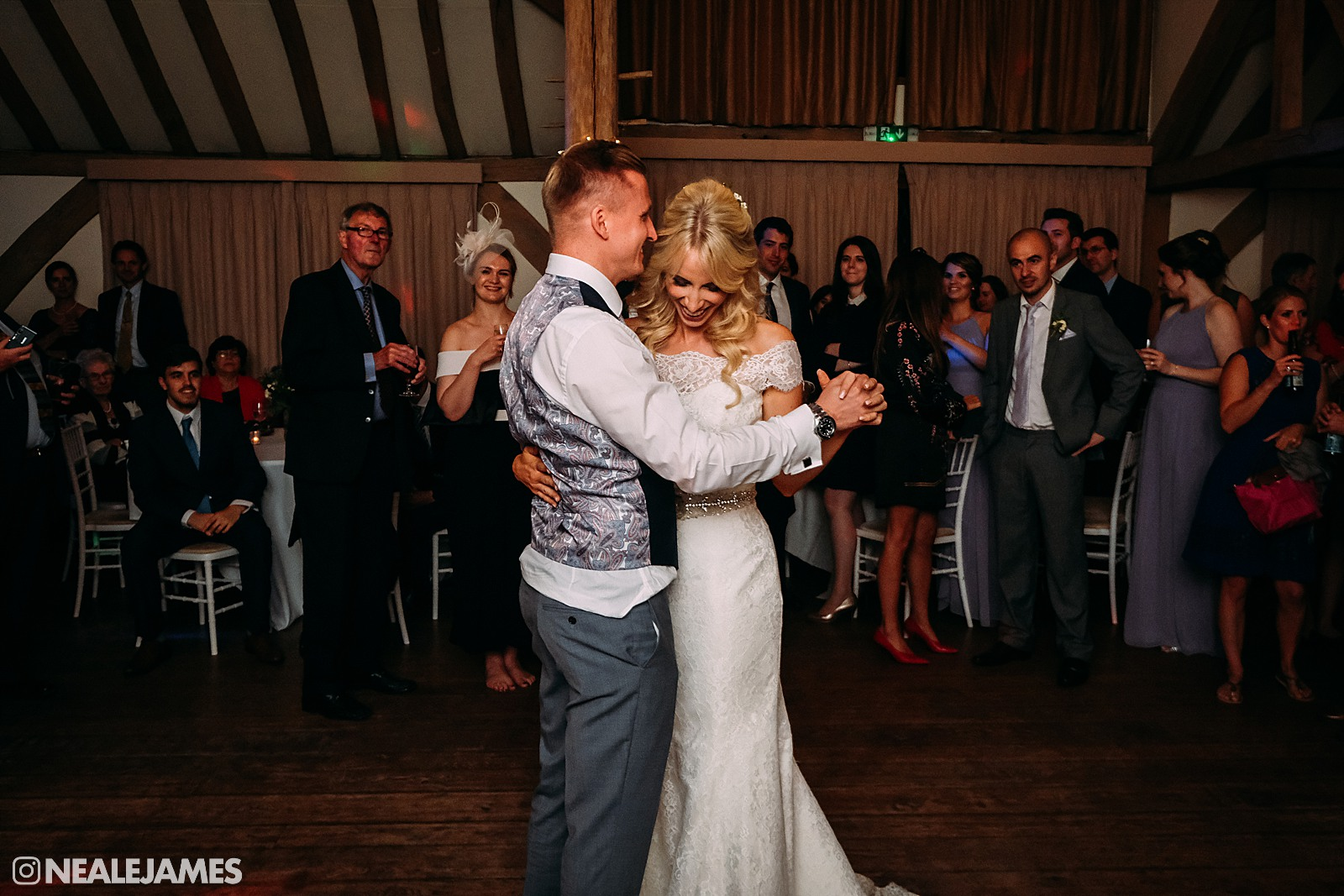 A first dance picture between Martyn and Rebecca at Cain Manor in Surrey