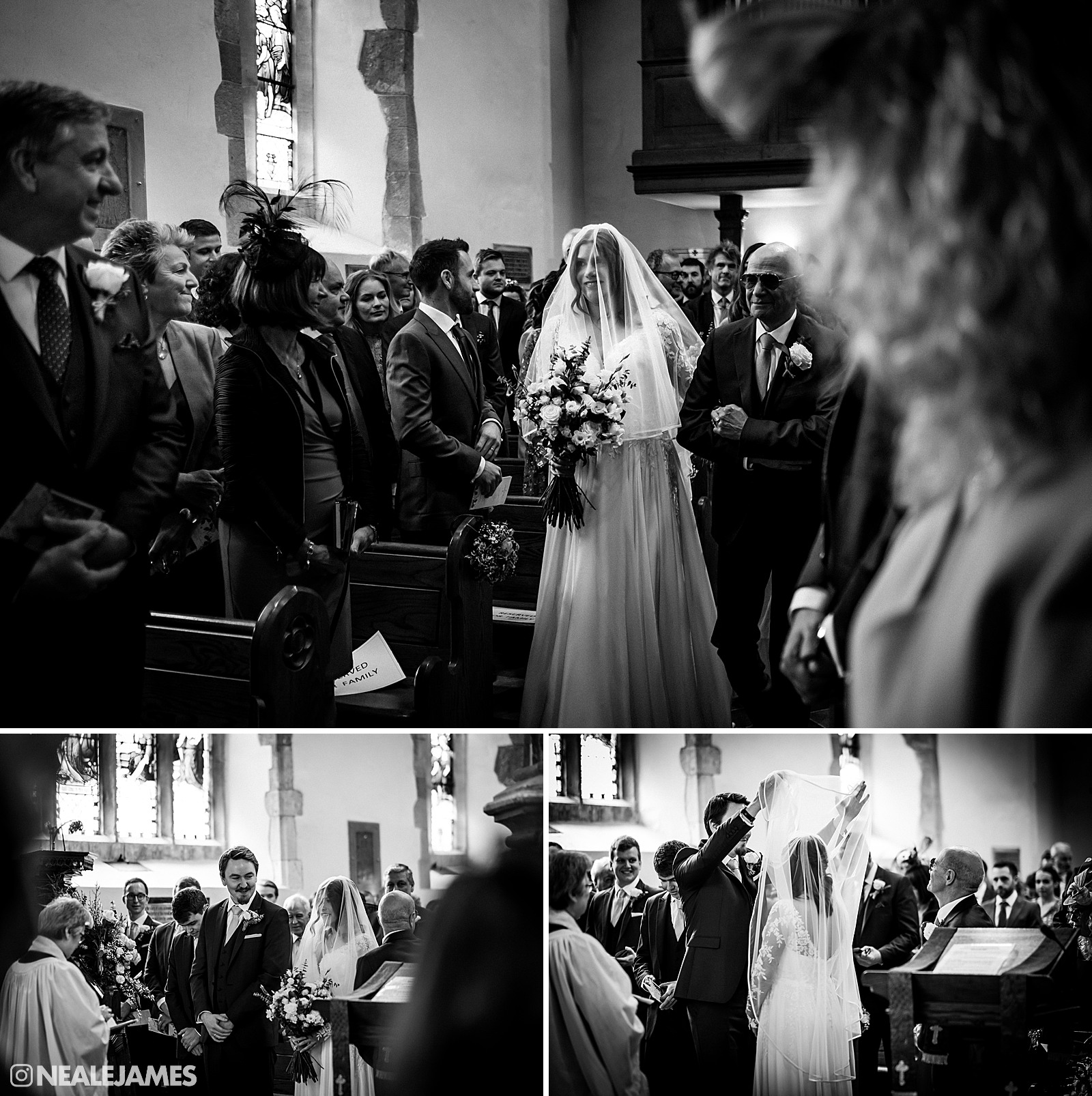 Black and white photo of a bride being walked down the aisle