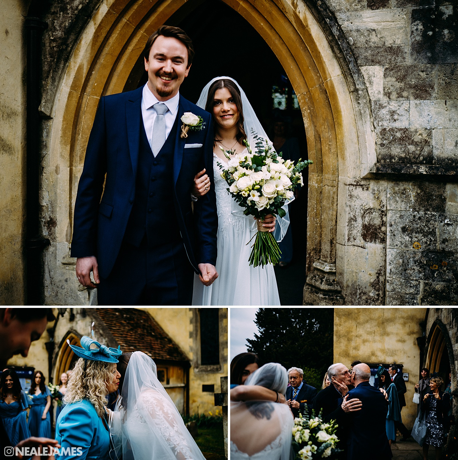 A colour picture of a bride and groom leaving church