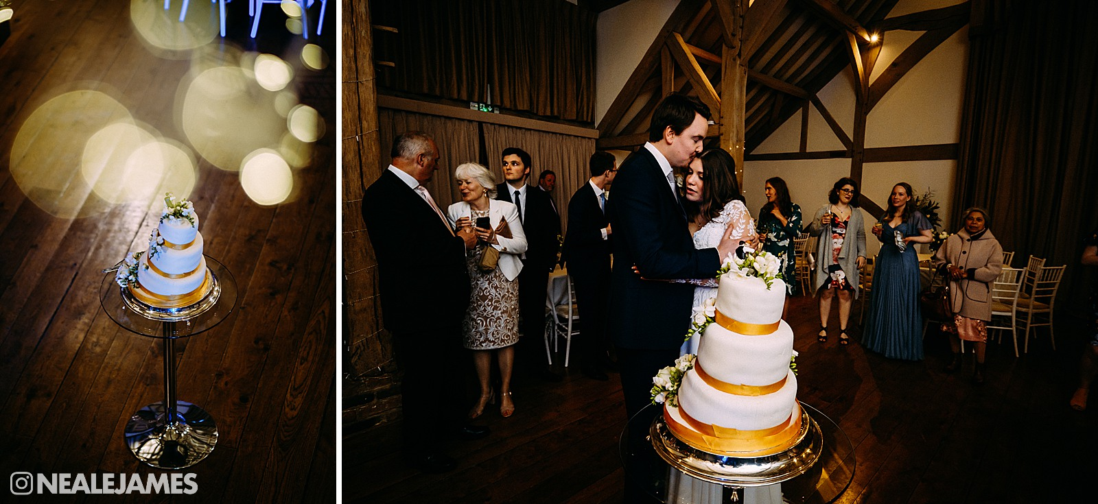 A bride and groom cutting a cake at Bijou wedding venue