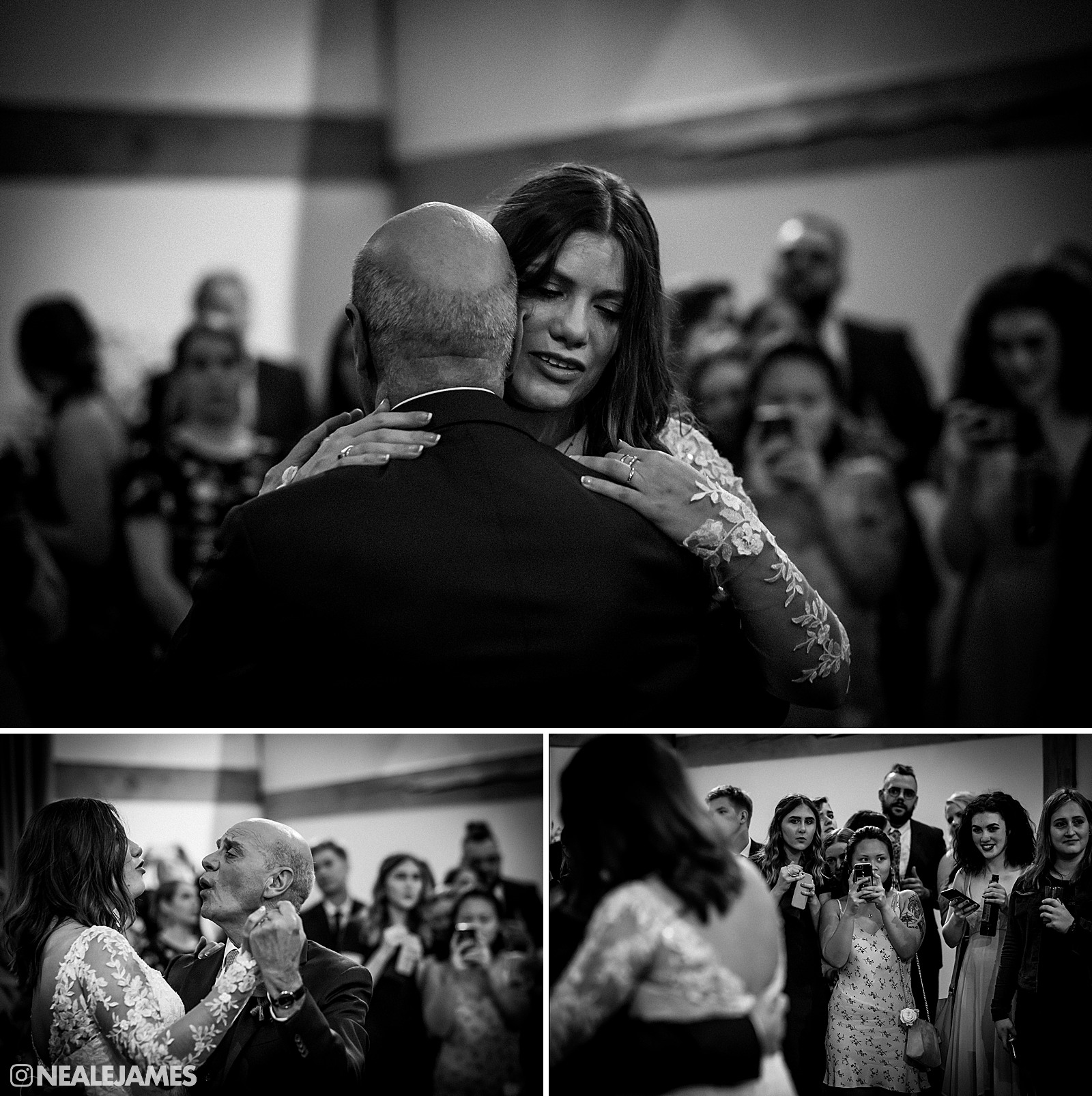 Monochrome picture of a bride dancing with her father at Cain Manor