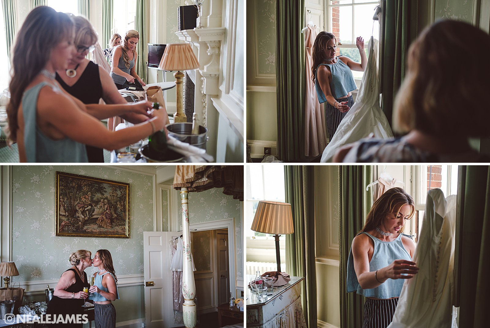 A bride prepares for her wedding day in the bridal suite at Brocket Hall