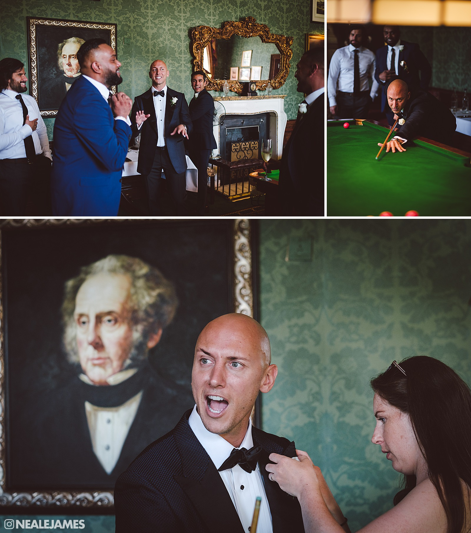 A groom preparing for his Brocket Hall wedding