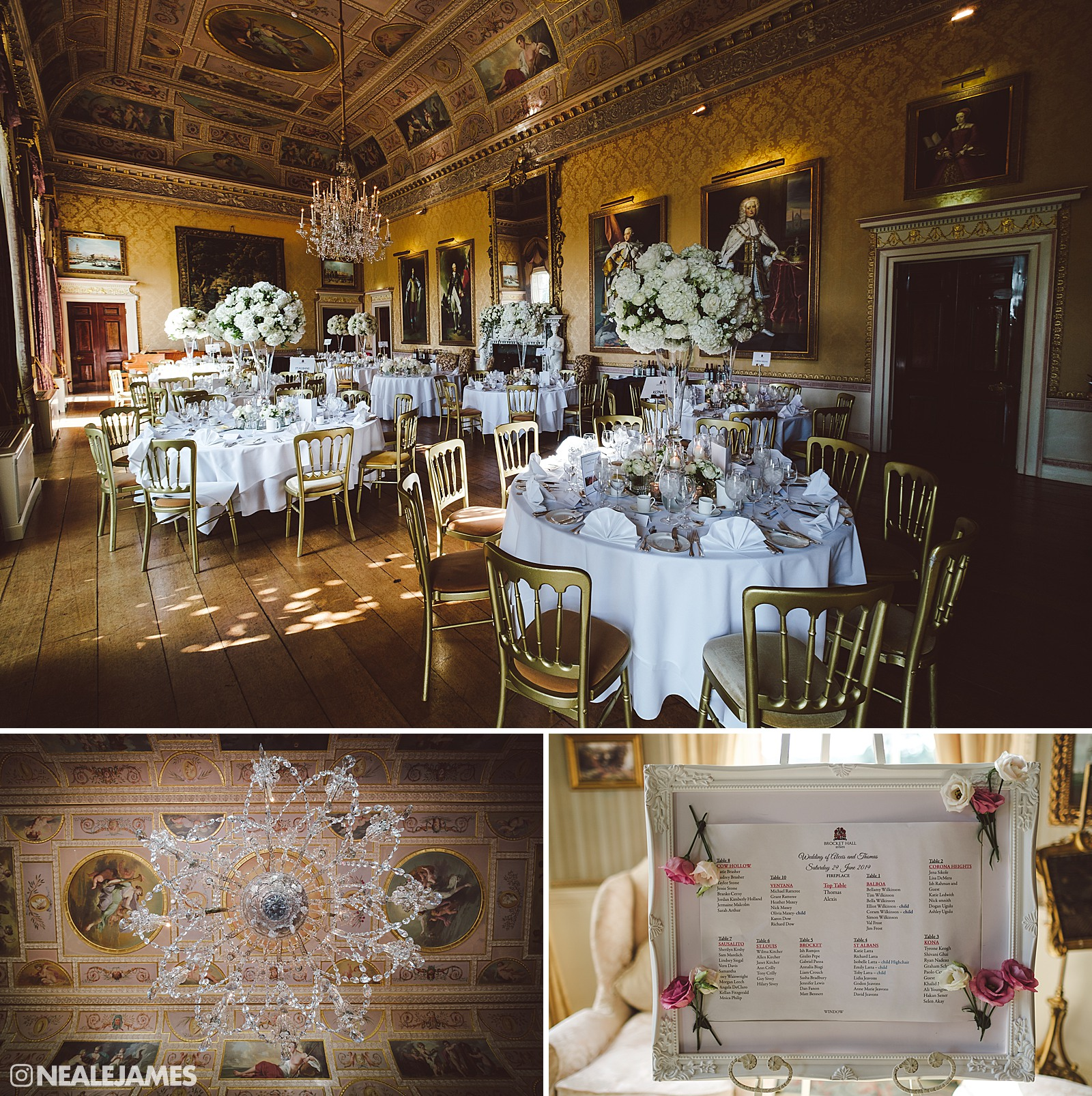 Colour pictures of the tables laid out at Brocket Hall wedding in Hertfordshire
