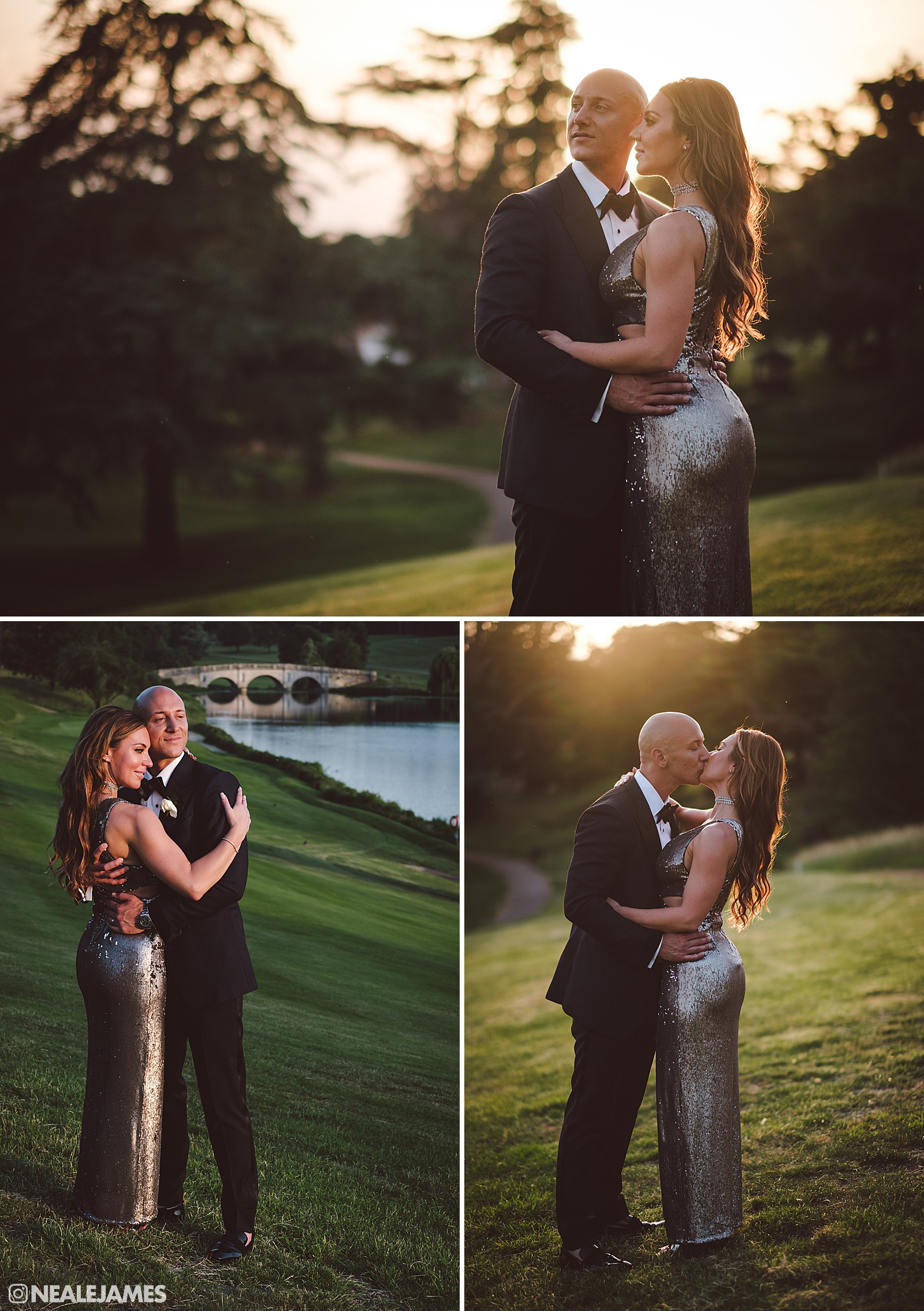 A golden hour wedding photo at Brocket Hall in Hertfordshire England