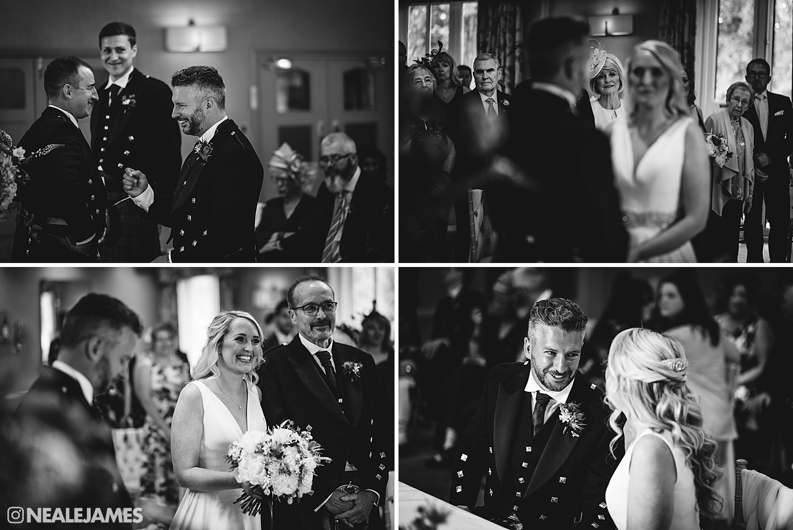 Black and white pictures of a wedding ceremony at The Vineyard Stockcross Berkshire