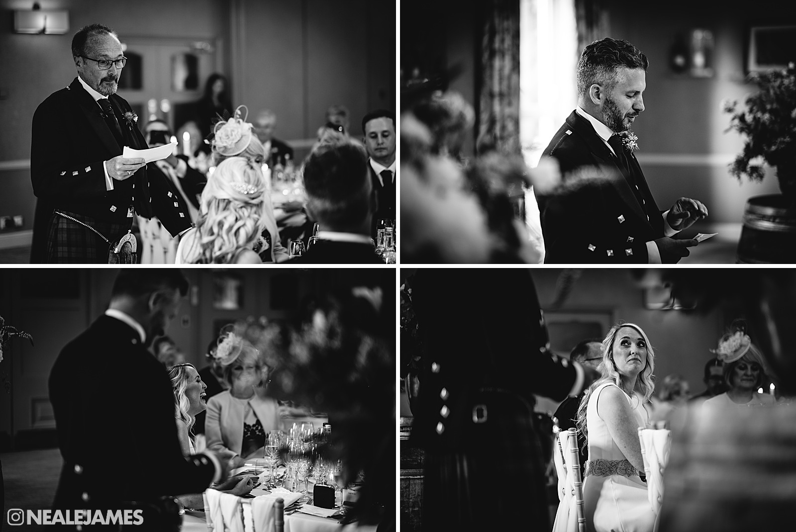 Black and white photographs of the wedding breakfast