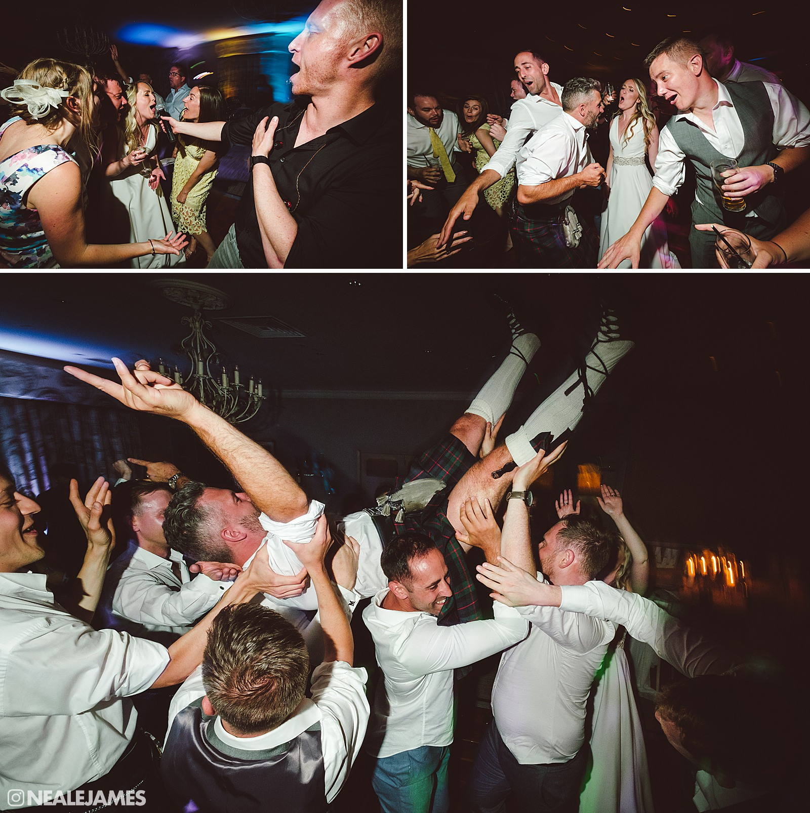 Colour picture of wedding guests dancing at The Vineyard near Newbury